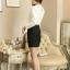 เสื้อเชิ้ตลูกไม้ทั้งตัว แต่งผ้าริ้วคาดหน้า คอจีนแต่งระบายประดับไข่มุก สีขาว(White) thumbnail 5
