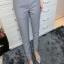 กางเกงเอวสูงสาบเอวงานสีพื้นใส่ได้ตลอดเว!! สีเทา(Grey) thumbnail 1