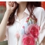 เสื้อเชิ้ตพับแขน พิมพ์ลายกุหลาบ สีชมพู(Pink) thumbnail 3