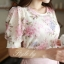 เสื้อผ้าฝ้ายนิ่ม ฉลุทั้งตัว พิมพ์ลายดอก แขนพองตุ๊กตา thumbnail 5