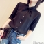 เสื้อเชิ้ตชีฟอง งานสีพื้น ปกเก๋สอดเป็นโบ แมทกับอะไรก็สวยฟรุ๊งฟริ๊ง สีดำ(Black) thumbnail 4