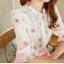 เสื้อเชิ้ตคอจีน ผ้าฉลุทั้งตัว พิมพ์ลายซากุระ แขนยาว 4 ส่วนจั้มระบาย ลายดอกชมพู thumbnail 3