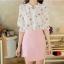 เสื้อเชิ้ตคอจีน ผ้าฉลุทั้งตัว พิมพ์ลายซากุระ แขนยาว 4 ส่วนจั้มระบาย ลายดอกชมพู thumbnail 6