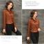 เสื้อปั้มนูนลูกไม้ปกผูกโบว์ สีน้ำตาล(Brown) thumbnail 4