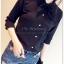 เสื้อเชิ้ตชีฟอง งานสีพื้น ปกเก๋สอดเป็นโบ แมทกับอะไรก็สวยฟรุ๊งฟริ๊ง สีดำ(Black) thumbnail 3