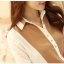 เสื้อเชิ้ตดำแต่งผ้าสีตัดลาย สีน้ำตาล(Brown) thumbnail 3
