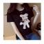เสื้อยืดสั้น ปักหมีน่ารัก สีดำ thumbnail 4