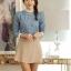 เสื้อเชิ้ตยีนส์นิ่ม คอเสื้อประดับระบายผ้าชีฟอง ตีเกล็ดเข้ารูป thumbnail 1