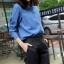 เสื้อเชิ้ตยีนส์คอจีน สาปกระดุมคู่ สียีนส์เข้ม thumbnail 3