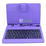 เคสคีย์บอร์ด สวยๆแป้นพิมพ์ไทย-อังกฤษ Micro USB สำหรับแท็บเล็ต 7 นิ้ว -สีม่วง