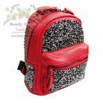 Beautysecretd Leather Daimond Dust Handle Backpack กระเป๋าเป้สะพายไหล่-สะพายหลัง ประดับกากเพชร สีแดง