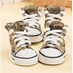 รองเท้าสุนัข รองเท้าแมว แบบผ้าใบ สีน้ำตาล เบอร์ 3