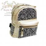 Beautysecretd Leather Daimond Dust Handle Backpack กระเป๋าเป้สะพายไหล่-สะพายหลัง ประดับกากเพชร สีทอง