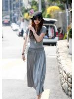 maxi dress ชุดเดรสยาว ใส่เที่ยว ใส่ทำงาน แฟชั่นเกาหลี ผ้า cotton สายผูกเย็บติดในตัว สีเทา เท่ห์ๆ Asia Street Fashion
