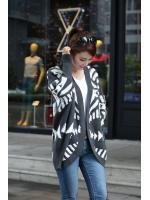 fashion เสื้อคลุม ไหมพรม สีเทา ดำ ใส่กันหนาวได้ อุ่นๆ น่ารัก