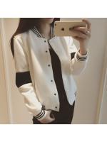 KK เสื้อคลุม แขนยาว ผ้าฝ้าย แต่งแถบ สีขาว รุ่น DA16-8225