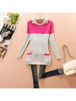 fashion เสื้อกันหนาวไหมพรมแฟชั่น คอปก สีชมพู บานเย็น น่ารักๆ ใส่เที่ยว