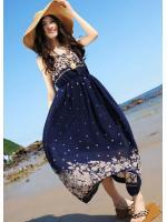 maxi dress เดรสยาวผ้าชีฟอง ใส่เที่ยวทะเลชิวๆ สีน้ำเงิน สวย น่ารักๆ Asia Street Fashion