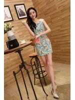 dress ชุดเดรสแฟชั่น ใส่ทำงาน ลายดอกไม้ สีเขียว Asia Street Fashion