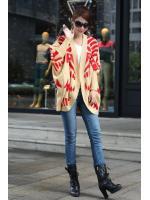 fashion เสื้อคลุม ไหมพรม สีกากี แดง ใส่กันหนาวได้ อุ่นๆ น่ารัก