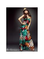MAXI DRESS ชุดเดรสยาว สายคล้องคอ แต่งลายใบไม้ ลายโทนสีเขียว แดง ส้ม ใส่เที่ยว ใส่ออกงาน สวยๆ ASIA STREET FASHION