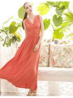 MAXI DRESS เดรสยาว เปิดหลัง ผ้าคอตตอน สีโอรส แขนกุด ใส่ออกงาน สวยๆ ASIA STREET FASHION