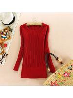 fashion เสื้อกันหนาวไหมพรมแฟชั่น แขนยาว สีแดง น่ารักๆ ใส่เที่ยว ทำงาน