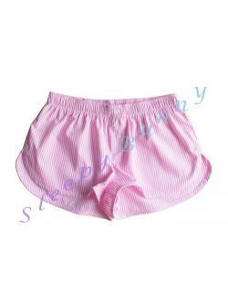 bx37 กางเกง boxer ผู้หญิง ลายทางสีขาวชมพู พร้อมส่ง Size S --> Pajamazz