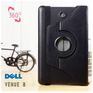 เคส DELL Venue 8 l หมุนได้ 360 องศา หนังPU ฝาพับเป็นขาตั้งได้ สีดำ (FREE ฟิล์มกันรอย)