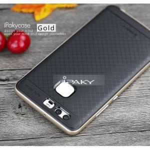 เคส Huawei P9 เคส iPaky Hybrid Bumper เคสนิ่มพร้อมขอบบั๊มเปอร์ สีดำ ขอบ ทอง Golden