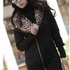เสื้อกันหนาวแฟชั่น พร้อมส่ง ตัวยาว สีดำ มีฮูท ด้านในฮูทแต่งด้วยผ้าขนสัตว์ลายเสือ เนื้อนิ่ม น่ารักๆ