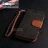 เคส Samsung Galaxy J1 เคสฝาพับ ทูโทน (สีดำ/น้ำตาล) พร้อมสายห้อย (มีช่องเก็บบัตรด้านใน)