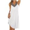 Lovaru Casual Sleeveless Midi Asia Dresses (White)