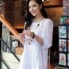 DRESS ชุดเดรสแฟชั่น ผ้าลูกไม้ สีขาว ใส่ทำงาน แขนห้าส่วน น่ารักๆ ใส่ออกงานได้ ASIA STREET FASHION