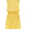 Cyber Summer Bead Chiffon Dresses For Women Sleeveless Pleated Mini Women is Fashion Dresses With Bow Belt (Yellow)