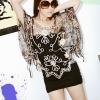 fashion เสื้อคลุมแฟชั่น ลายลูกไม้ น่ารัก ทรงผีเสื้อ พื้นสีดำ ลูกไม้สีน้ำตาล ชิวๆ สวยมากๆ จ้า Asia Street Fashion