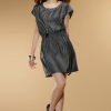 dress เดรสสั้นคอกลม สีเทาเข้ม จั๊มเอว ใส่ทำงาน ใส่เที่ยว สวยๆ Asia Street Fashion