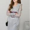 Ladies Long Sleeve Pockets V-Neck Loose Casual Cotton MIni Women - Dresses