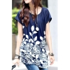 Ice Silk Loose Flower Print Mini Women - Dresses (Blue)