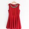 dress ชุดเดรสแฟชั่น ชุดทํางาน สีแดง แขนกุด คอกลม ผ้าคอตตอน
