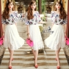 Sevy Two Pieces Of Tropical Blouse With Midi Lace Skirt Sets