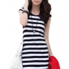LALANG Short Sleeve Slim Dresses Black and White