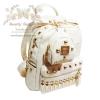 กระเป๋าเป้ แฟชั่น กระเป๋าเป้สะพายไหล่-สะพายหลัง กระเป๋าเดินทาง พร้อมกระเป๋าพวงกุญแจสีขาว Beautysecretd Korea Street White Leather Dual Handle Backpack