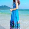MAXI DRESS ชุดเดรสยาว พร้อมส่ง สีน้ำเงิน คอวีลึก แขนกุด แต่งย่นๆช่วงหัวไหล่ ลายดอกไม้สีสัน สม๊อคช่วงเอว สวยมากๆค่ะ