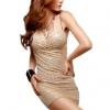 ZigZagZong Sheer Lace Sleeve Round Neck Women's Mini Shop Fashion Dresses Online Blue