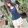 dress ชุดเดรสแฟชั่นเกาหลีแขนกุด สีน้ำเงิน กระโปรงแต่งระบาย ใส่ทำงาน พริ้วมาพร้อมเชือกผูเอว น่ารักๆ