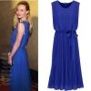 MAXI DRESS - ชุดเดรสยาวแขนกุด สีน้ำเงิน ผ้าชีฟอง ใส่ทำงาน กระโปรงอัดพลีท ใส่ออกงาน ASIA STREET FASHION