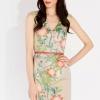 dress เดรสทํางาน สไตล์ยุโรป แขนกุด คอวี สีเทา ลายดอกไม้