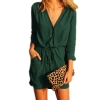 Sunweb Women V Neck Long Sleeve Drawstring Pockets Loose Sexy MiniChiffon Women is Fashion Dresses