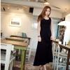 maxi dress ชุดเดรสยาวแฟชั่น ใส่เที่ยว ใส่ทำงาน สีดำ แขนกุด ผ้า Cotton ด้านหลังแต่งตาข่าย กระโปรงพริ้ว ใส่ออกงาน เซ็กซี่ Asia Street Fashion